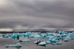 Grey skies over Jökulsárlón glacial lagoon