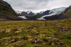 View up the glacial valley towards Falljökull