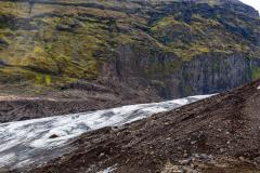 Distant hikers on Falljökull glacier
