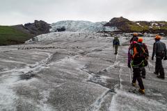 Glacier hiking on the lower slopes of Falljökull