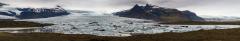 Stitched panorama overview of Skaftafellsjökull glacier