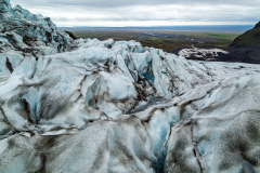 View towards the coast from the icefall, Falljökull