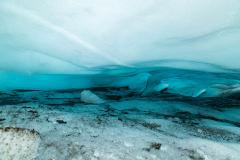 Inside a wide ice cave on Falljökull glacier