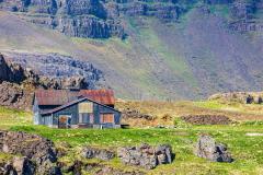 Ruined farmhouse overlooking Berufjörður, Easfjords