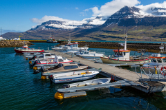 Boats in the harbour at Reyðarfjörður, Eastfjords
