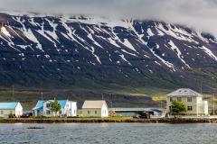 Houses and looming mountains, Seyðisfjörður