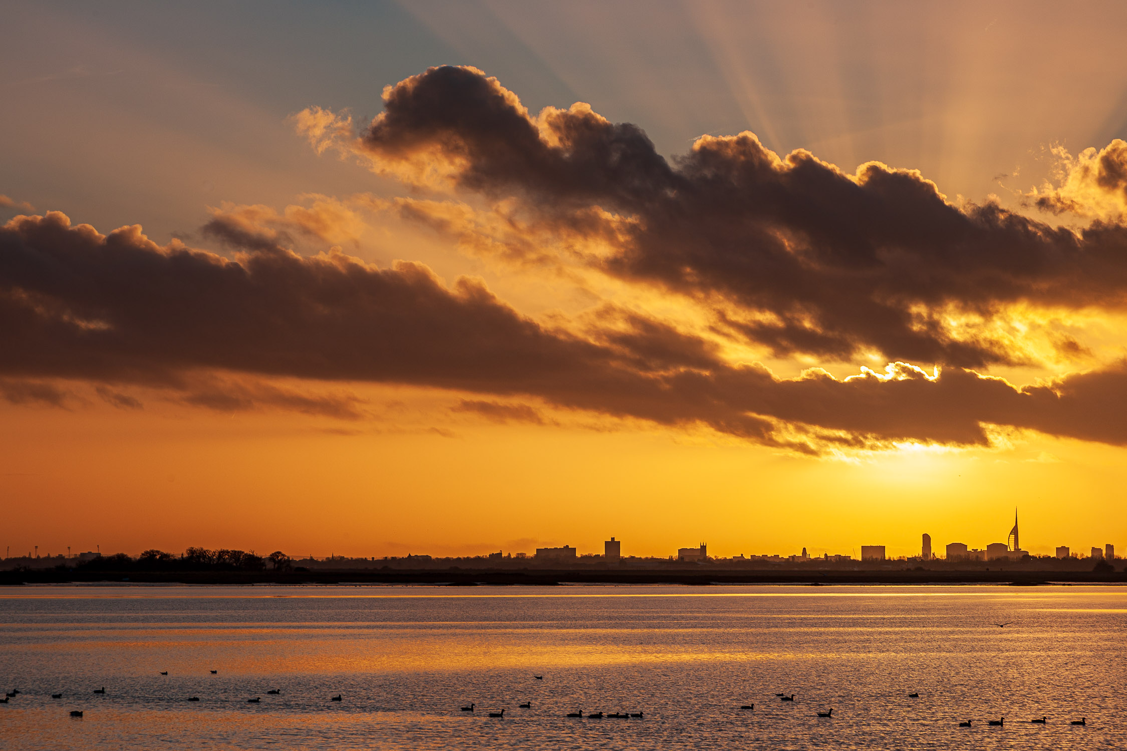 Winter unset over Langstone Harbour, Hampshire