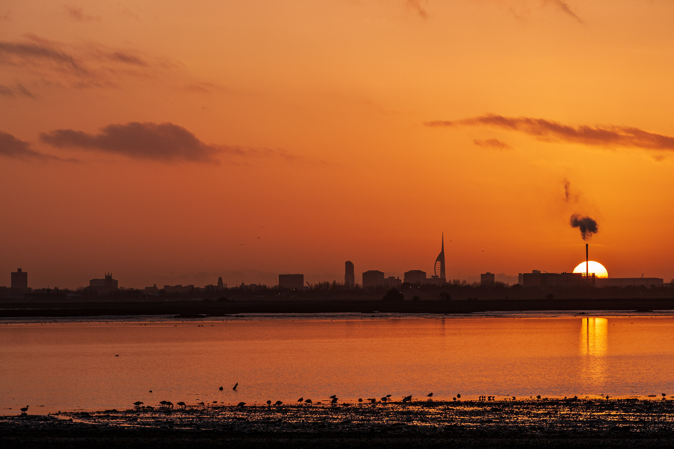 Sunset over Langstone Harbour, Hampshire