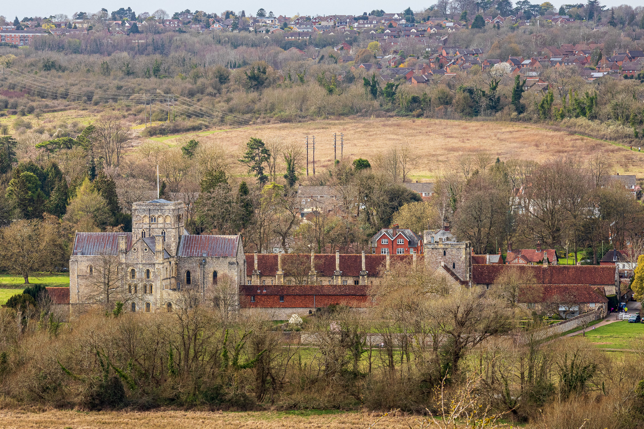 St Cross Hospital from St Catherine's Hill, Winchester