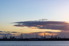 Sunset behind the Fawley oil refinery
