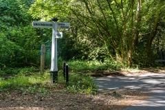 Directions sign in woodlands near High Rocks, Tunbridge Wells