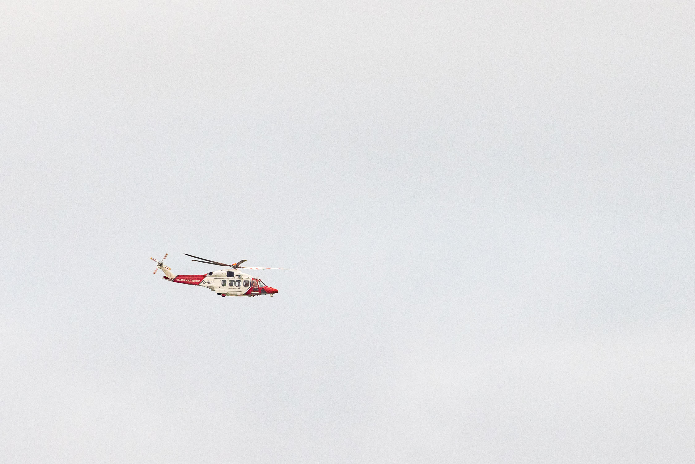 Coastguard helicopter over the Solent