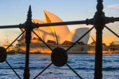 Opera House through the railings at Circular Quay