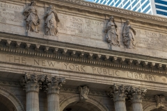 Neo-classical facade of the New York Public Library, New York Ci