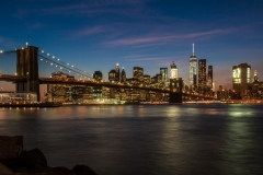 Brooklyn Bridge and the lower Manhattan skyline