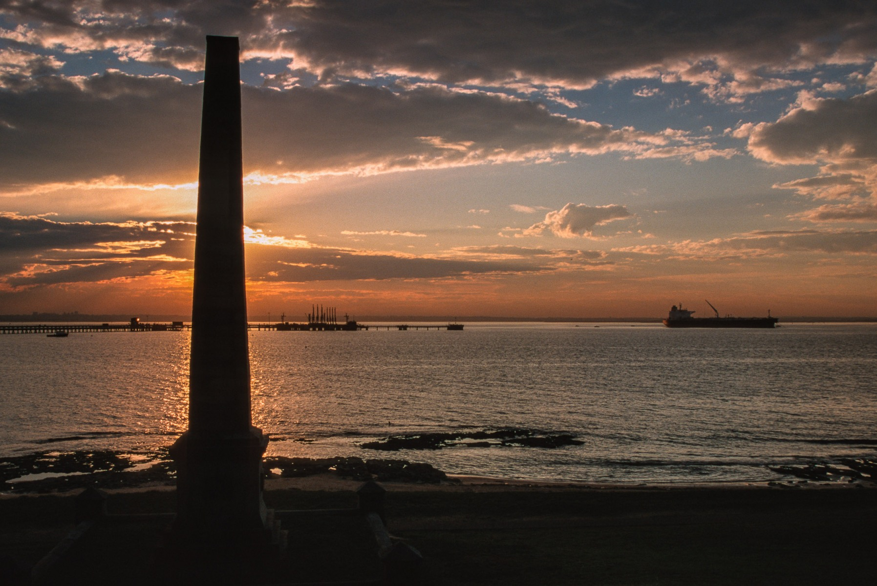Sunset over the Cook Memorial and Botany Bay, Sydney