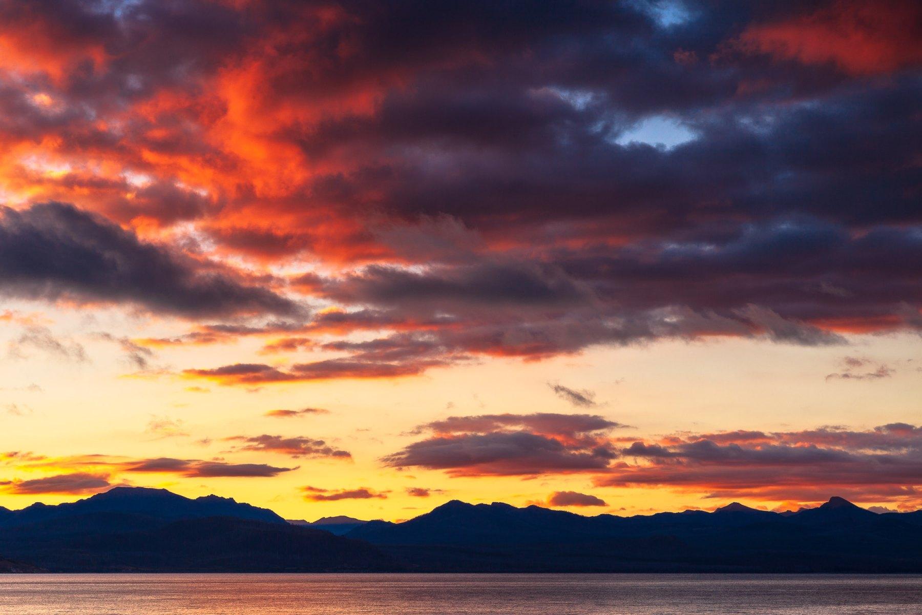 Sunrise over Yellowstone Lake