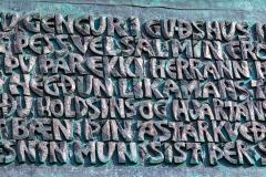 Plaque with Icelandic writing on Hallgrimskirkja