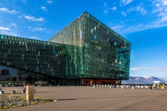 Exterior of the Harpa opera house on the Reykjavik harbourfront