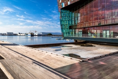 Boardwalk and harbour view beside the Harpa opera house, Reykjavik