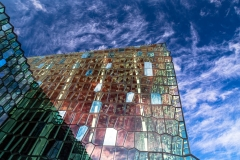 Exterior of the Harpa opera house against a blue sky