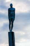 Friendship statue against the evening sky, Vik i Myrdal