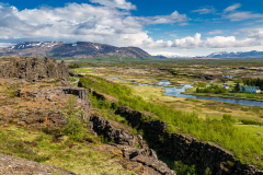View across Þingvellir National Park from Almannagjá