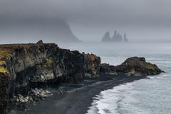Reynisfjara and Reynisdrangar lost in the gloom, South Iceland