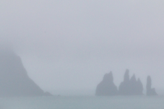 """Reynisdrangar (""""Troll Rocks"""") lost in the fog"""