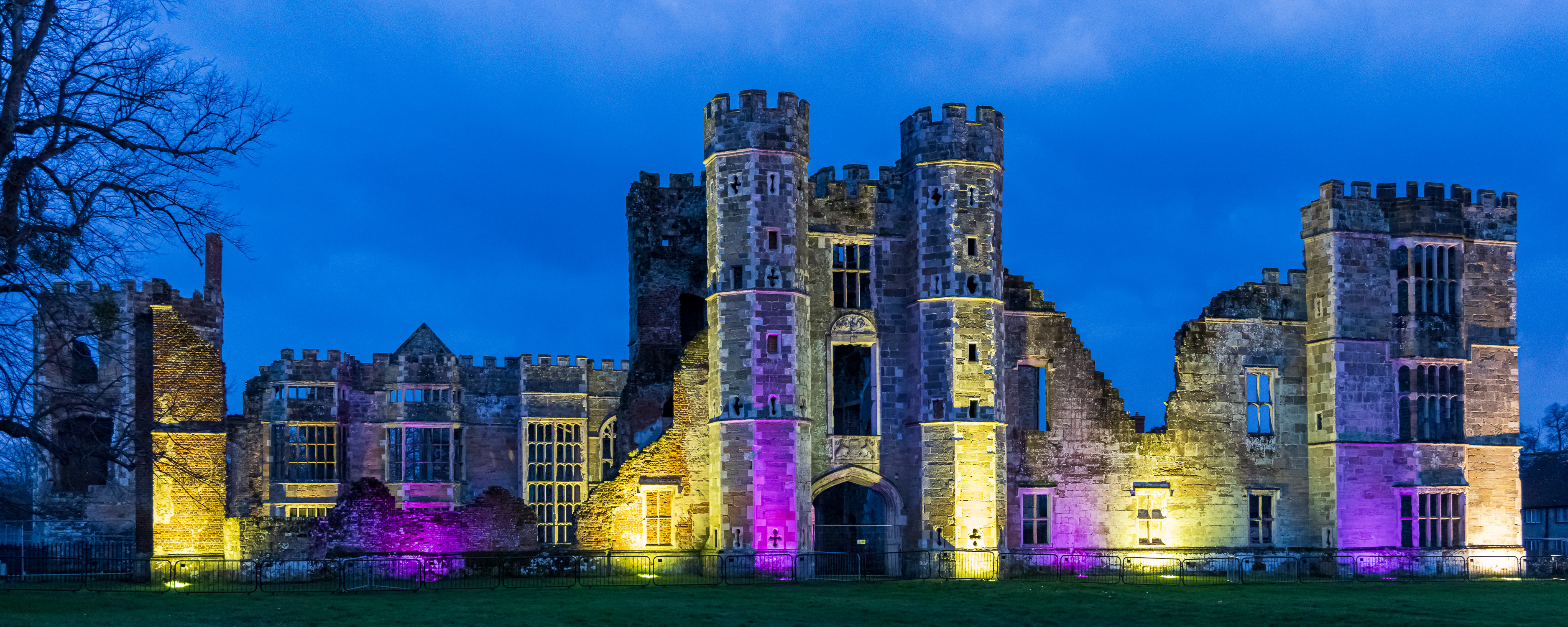 The floodlit ruins of Cowdray Castle