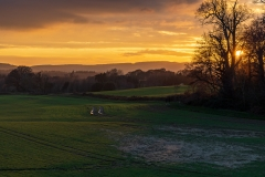 Sunset and shadows over the Cowdray Estate near Midhurst