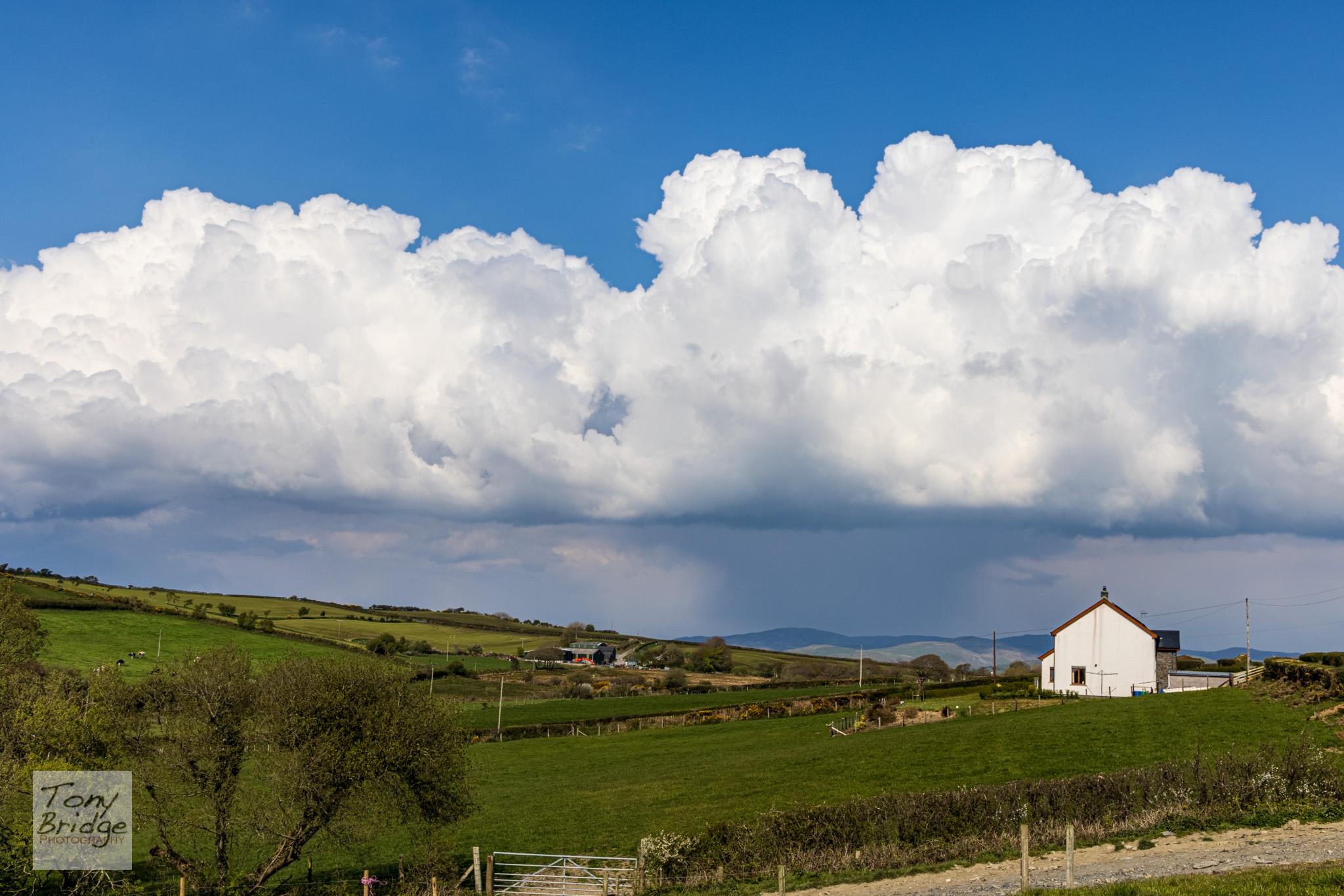 Shower clouds over the Ceredigion landscape